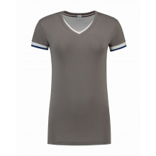L&s t-shirt double-v cot/elast ss for her - Premiumgids