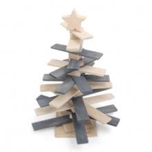 Wooden x-mas tree with star - Premiumgids