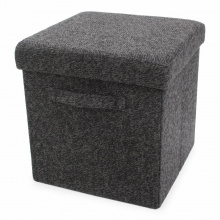 Foldable storage pouffe with handles wool - Premiumgids