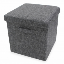 Foldable storage pouffe with handles yarn - Premiumgids