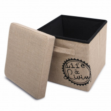 Foldable storage pouffe with handles jute - Premiumgids