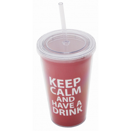 Keep calm cup and straw red - Premiumgids